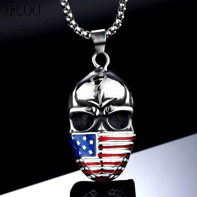 Star Flag Skull Necklace For Men