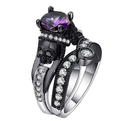 2-In-1 Black Skull Crystal Engagement Ring Set For Women