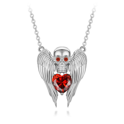Wing Of The Angel Heart Skull Necklace For Women