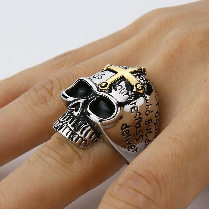 Lord Prayer Skull Ring With Gold Cross