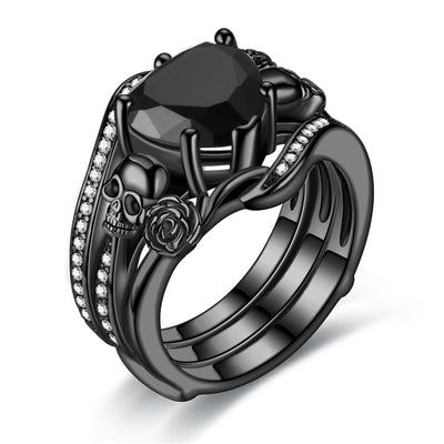 2-In-1 Black Rose Heart Skull Ring Set For Women