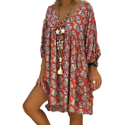 V Neck 3/4 Sleeve Floral Skull Flowy Dress For Women