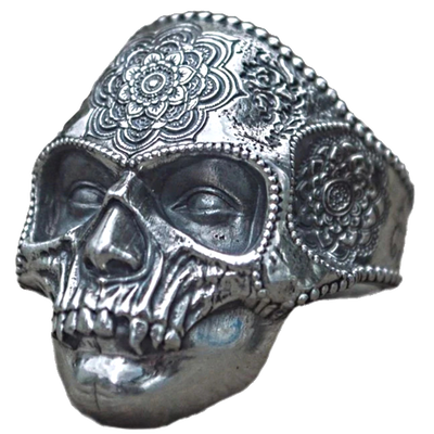 Precious Mandala Iron Mask Skull Ring For Men