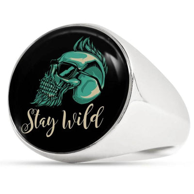 Surgical Steel Stay Wild Bearded Skull Ring For Men