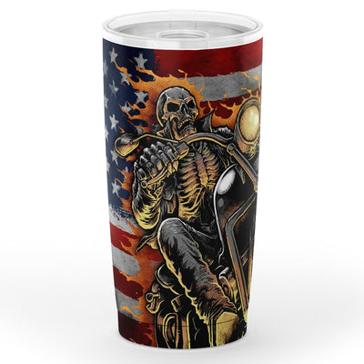 Star Stripe Flag Skull Ghost Rider Tumbler