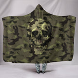Camo Skull Hooded Blanket Camouflage with Skulls