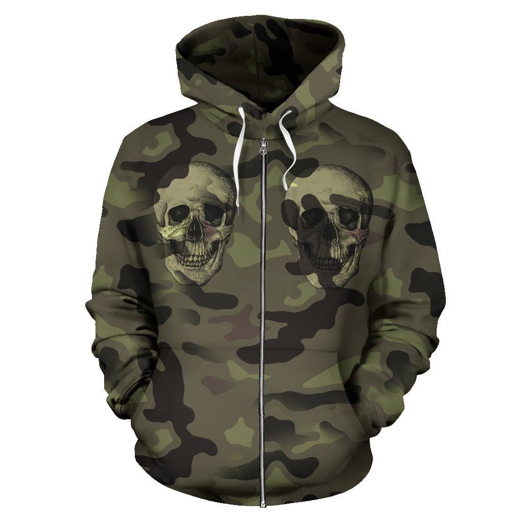 Camo Skull All Over Print Zip Up Hoodie