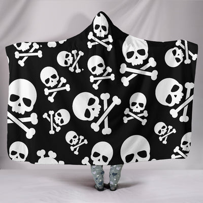 Skull Crossbones Hooded Blanket