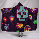Muerte Skulls and Flowers Hooded Blanket