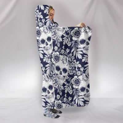 Flower SKulls Hooded Blanket