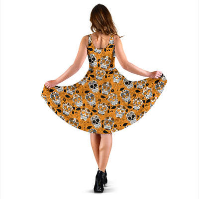 Orange Sugar Skull Dress For Women