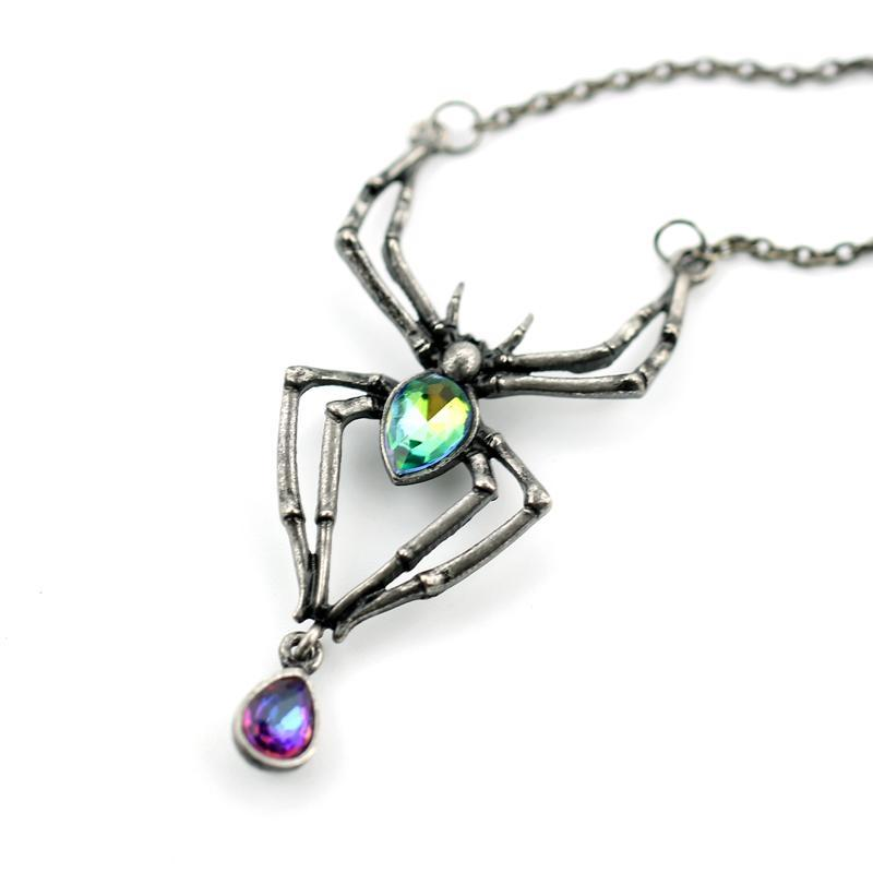 Pendant Necklaces - Black Spider Green Crystal Stainless Steel Pendant Necklace