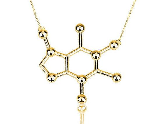 Pendant Necklaces - Caffeine Molecule Necklace