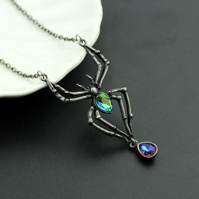 Pendant Necklaces - FREE-Black Spider Green Crystal Stainless Steel Pendant Necklace