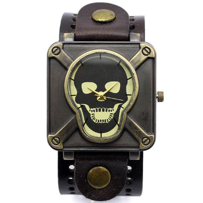 Quartz Watches - Skull Wrist Watch Leather Band