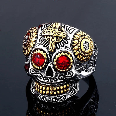 Day Of The Dead Skull Ring For Men Women