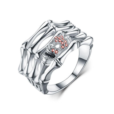 Red Crystal Guardian Skull Ring For Women