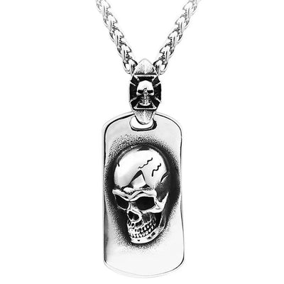 Dog Tag Skull Necklace For Men