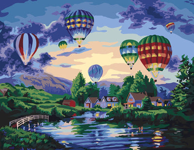 DIY Painting By Numbers Oil Painting Of Country Hot Balloon Painting& Calligraphy Home Decor
