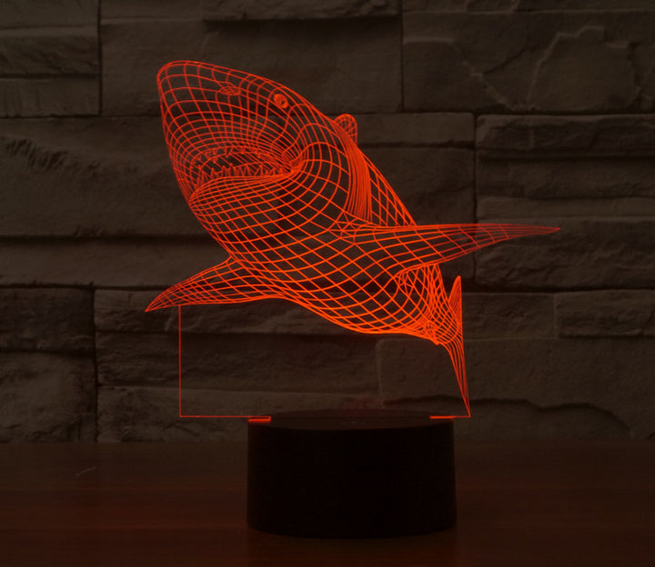 Creative Shark 3D Optical Illusion LED Lamp