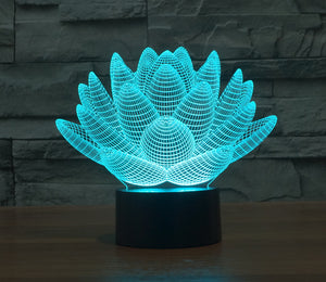 Colourful Stereoscopic Lotus 3D Optical Illusion LED Lamp