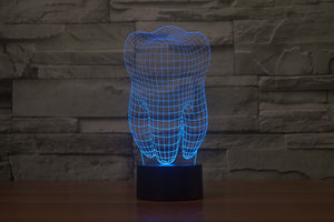 Tooth Shape 3D Optical Illusion LED Lamp