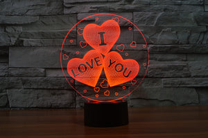 Three Hearts I LOVE YOU Romantic 3D Optical Illusion LED Lamp