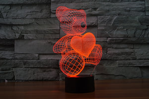 Cute Bear with Lovely Heart 3D Optical Illusion LED Lamp