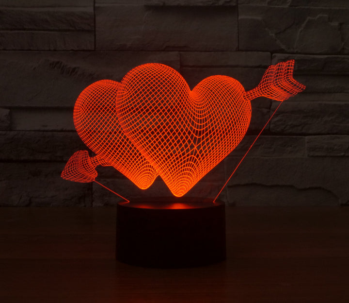 An Arrow Through The Hearts Valentine's Gift 3D Optical Illusion LED Lamp