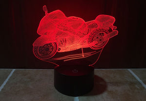 Motorcycle 3D Optical Illusion LED Lamp