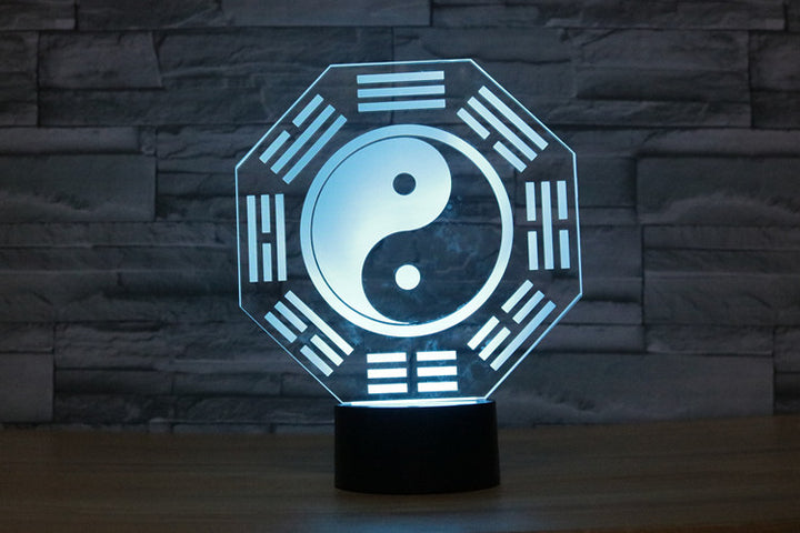Taiji Tai Chi The Eight Diagrams 3D Optical Illusion LED Lamp