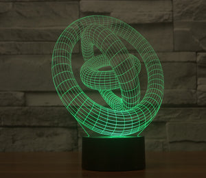 Abstract Stereoscopic Three Rings 3D Optical Illusion LED Lamp