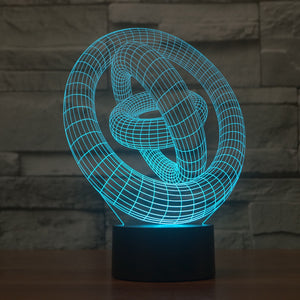 Stereoscopic Three Rings 3D Optical Illusion LED Lamp