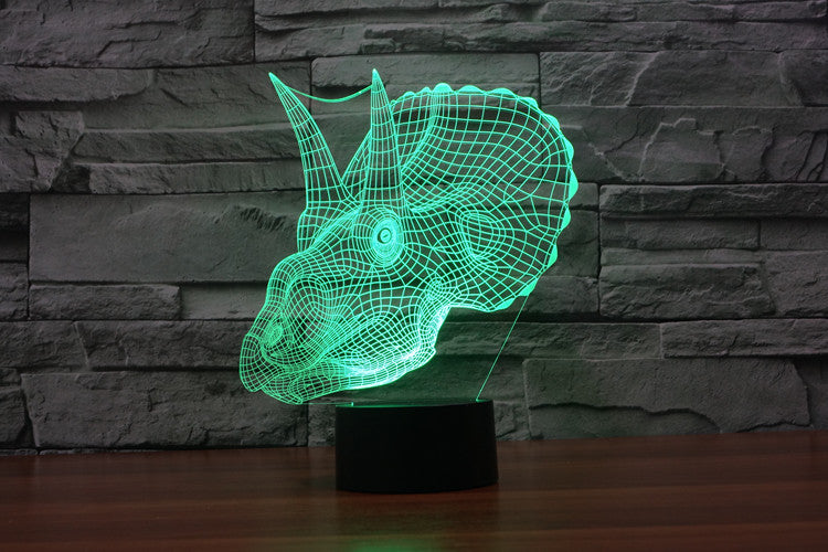 Triceratops Dinosaur 3D Optical Illusion LED Lamp