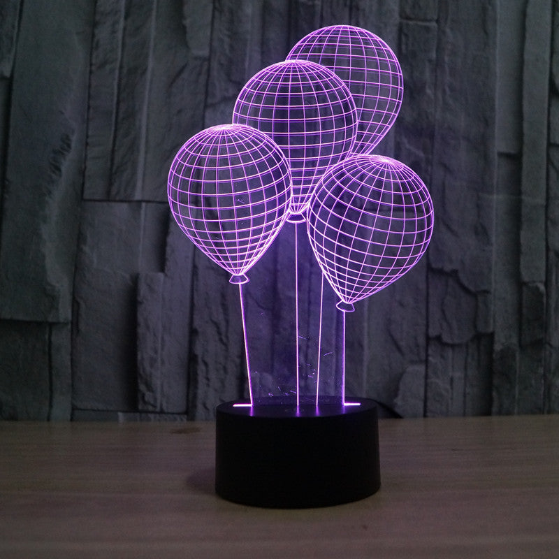 Four Balloons Kids Bedside 3D Optical Illusion LED Lamp