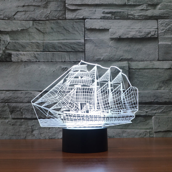 Sailing Boat 3D Optical Illusion LED Lamp