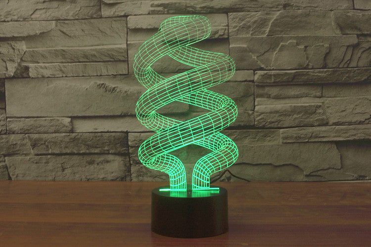 Abstract Helix Coils 3D Optical Illusion LED Lamp