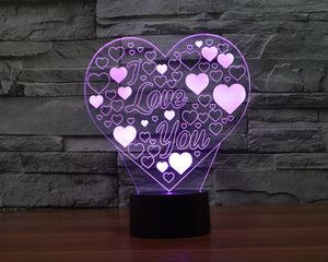 Love Heart Shapes 3D Optical Illusion LED Lamp