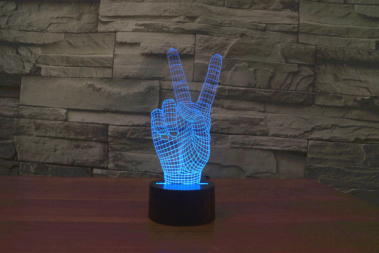 Victory Hand 3D Optical Illusion LED Lamp