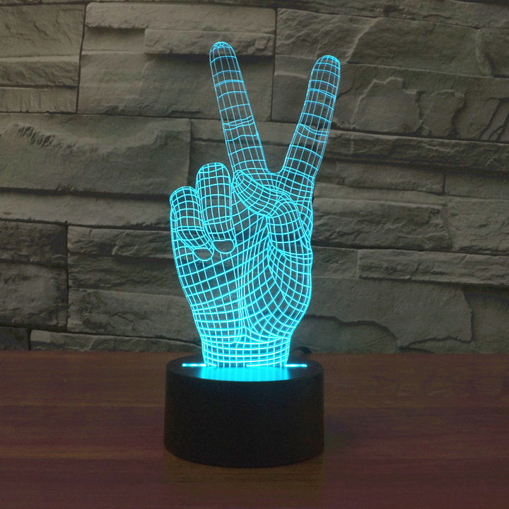 chilldecor.com Victory Hand 3D Optical Illusion LED Lamp