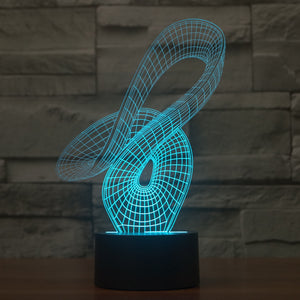 Abstract 3D Optical Illusion LED Lamp