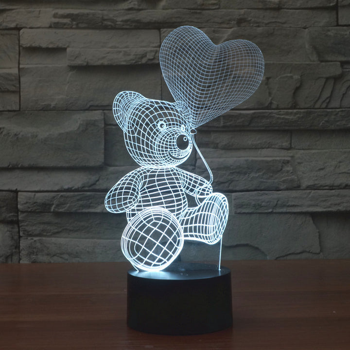 Bear With Love Heart Balloon 3D Optical Illusion LED Lamp