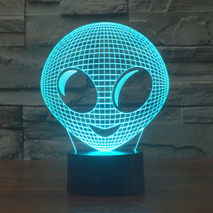 Chill Décor Cute Alien Grey Man 3D Optical Illusion LED Lamp