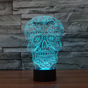 Day Of The Dead Skull 3D Optical Illusion LED Lamp