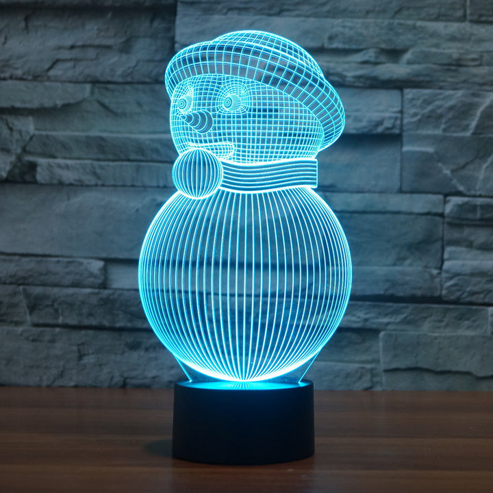 chilldecor.com Christmas Snowman 3D Optical Illusion LED Lamp