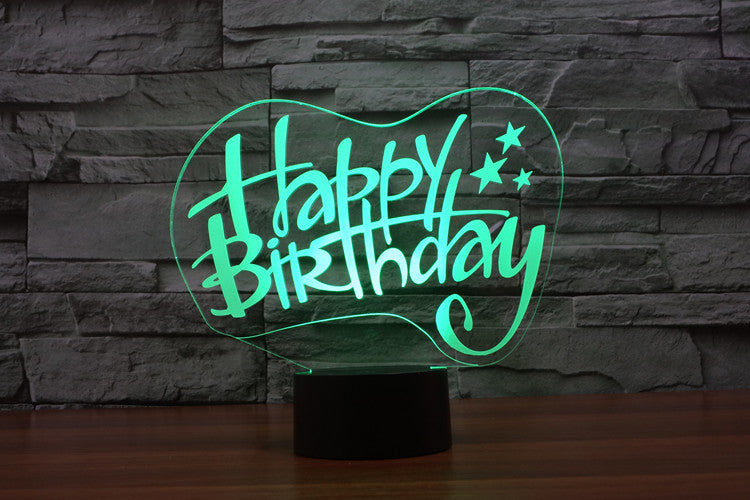 Happy Birthday 3D Optical Illusion LED Lamp