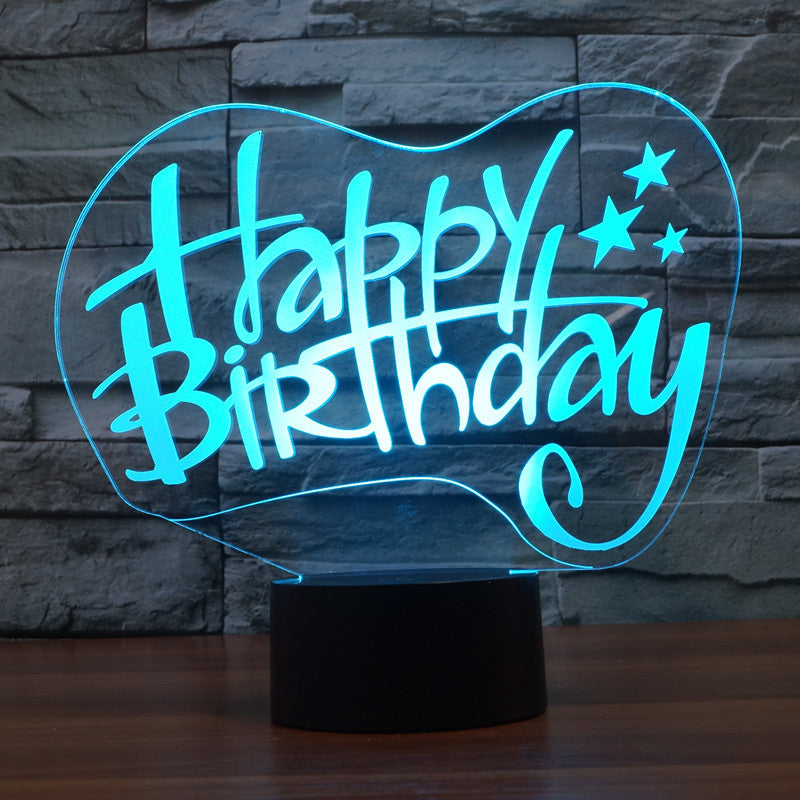Happy Birthday 3D Optical Illusion LED Lamp Chill Décor