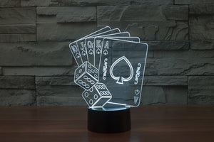 Poker With Dices 3D Optical Illusion LED Lamp