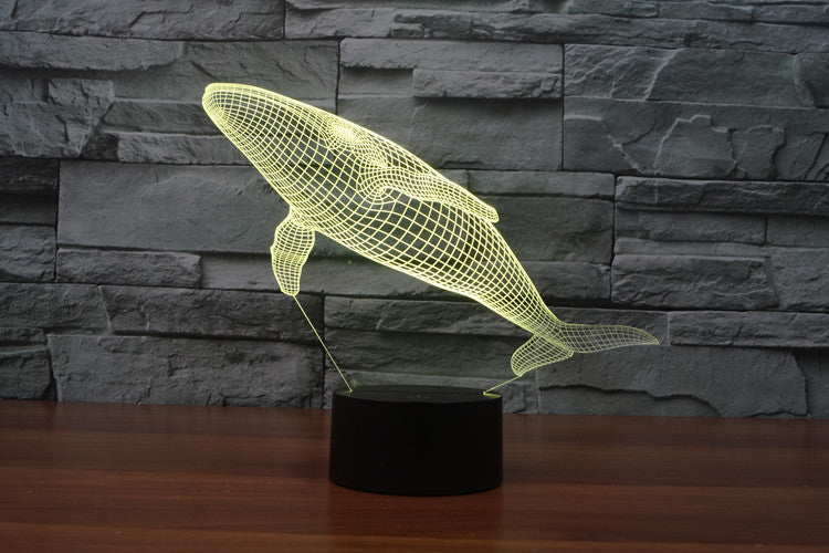Whale 3D Optical Illusion LED Lamp