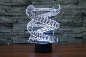 Abstract DNA Helix 3D Optical Illusion LED Lamp